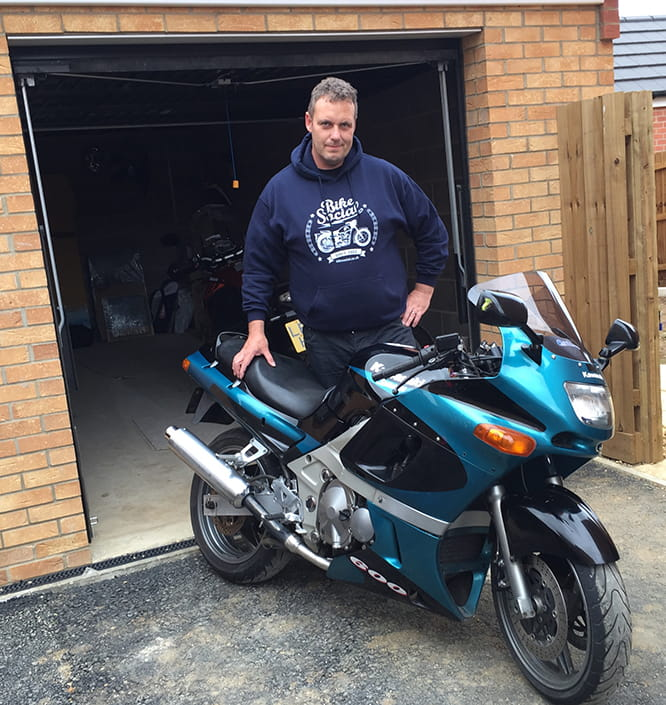 One proud new owner. Scott Redmond with the Bike Social ZZR