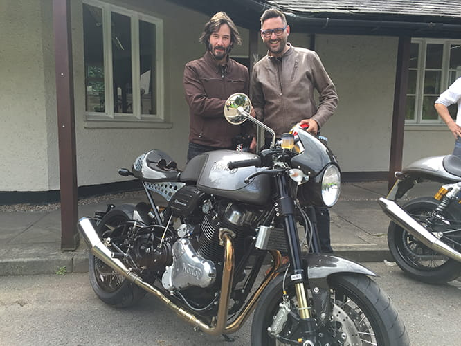 Keanu Reeves and Bike Social's Marc Potter after a ride on two Nortons.