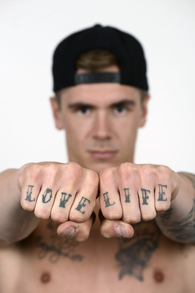 Redding's tattooed knuckles, the most painful of the lot.