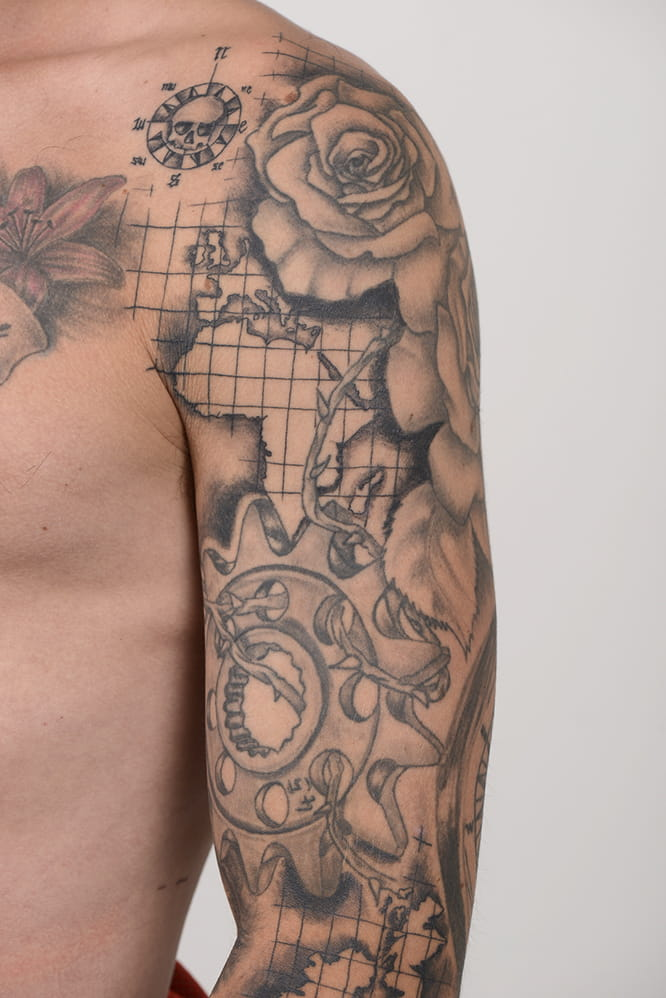 The Rose and Sprocket was Redding's second tattoo