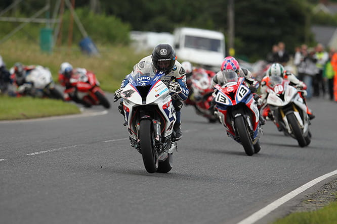 Guy Martin leads the Dundrod 150 Superbike Race at U.G.P ahead of Lee Johnston and Peter Hickman