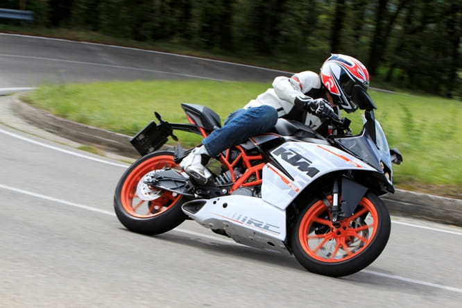 KTM's RC390 is the most power in this class with 44bhp