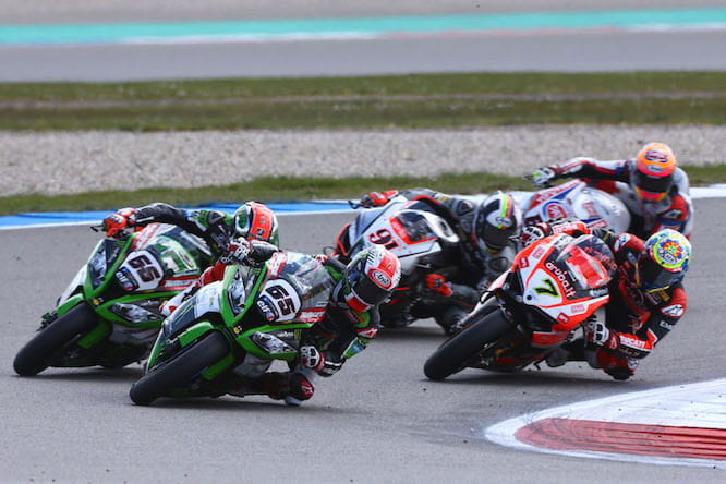 The racing is usually this close in World Superbikes