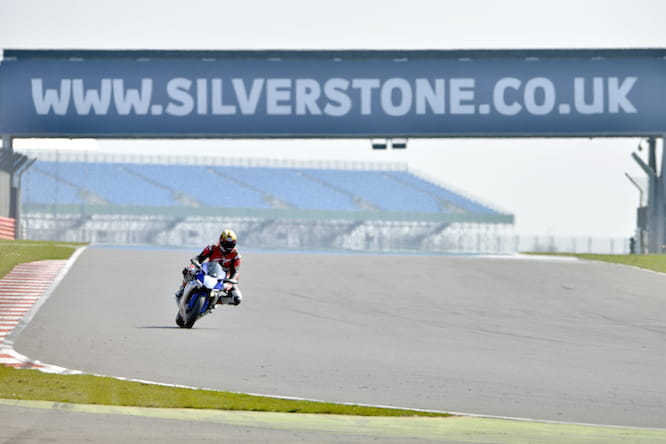 Yamaha R1 at an empty Silverstone MotoGP track.