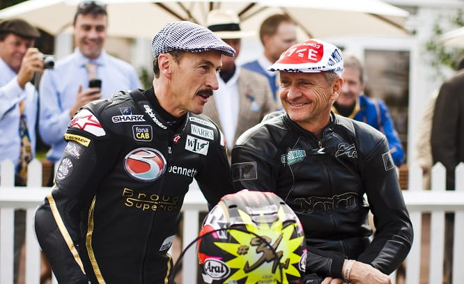 Jeremy McWilliams chats to Kevin Schwantz in 2014