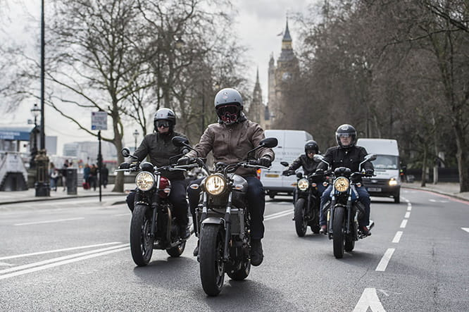 The four modern retro bikes caused a stir in Central London