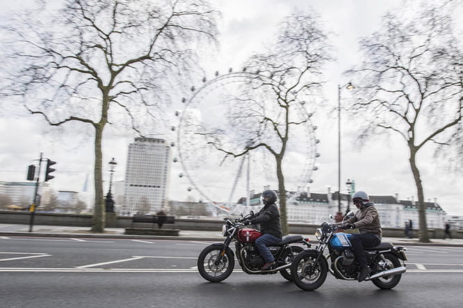 Battle of the heavyweights as Street Twin and V7 ride side-by-side