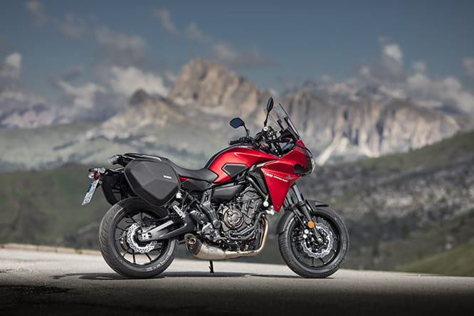 Sat nav, comfort seat, soft panniers and Akrapovic exhausts are the sporty accessories on this version of the Tracer 700